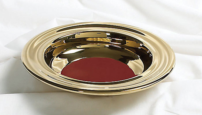 Brass Offering Plate with Red Felt